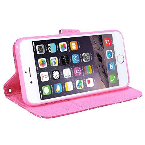 WE LOVE CASE Coque iPhone 6, Étui en Cuir a Rabat de Protection 3D Housse Étui iPhone 6S Portefeuille, Coque avec Rabat Personnalise Girly Fonction Support Stand Fente Carte et Magnétique Fermeture St Mandala