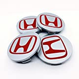 Set von 4 HONDA Alufelgen Center Radkappen Nabendeckel Nabenkappen 68mm Abdeckung SILBER GRAU ROT Logo Badge ACCORD CIVIC TYPE R GT Sport 2.0 i-VTEC Turbo EP3 FN2 und andere Modelle / Set of 4 HONDA Alloy Wheels Centre Hub Caps 68mm Cover SILVER GREY RED