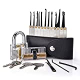 AZFDXGFC Kit de crochetage de serrure 15 pièces avec cadenas transparent et cylindre Euro pour entraînement et entraînement, noir
