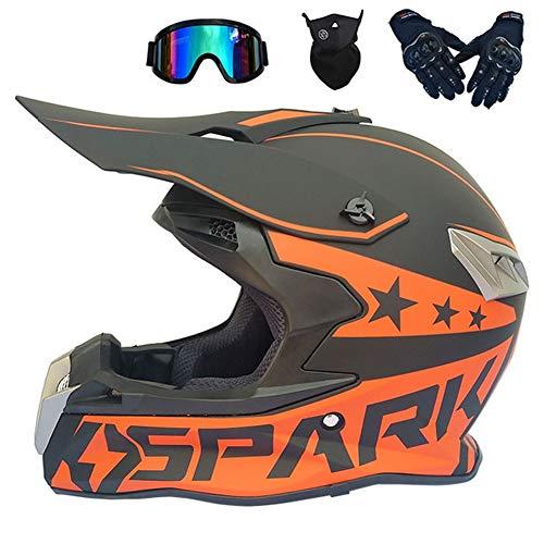 Motocross Helm Schwarz, Motorrad Crosshelme mit Brille Maske Handschuhe (4 Stück), Unisex Off Road ATV Helm Kit Motorradhelm für Männer Damen Sicherheit Schutz, 2 Stile Verfügbar,Orange,L -
