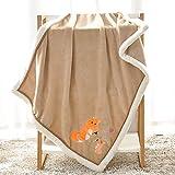 LCDY Baby Flaum Decke Cartoon Einfarbig Dickes Design 75 X 100 cm,1,75 * 100Cm