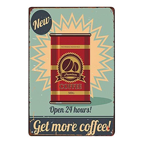 Lumanuby 1x Vintage Kaffee Plakat für die Café Bar Club oder Restaurant von Dose Kaffeebohne mit Wort' Open 24 Hours, Get More Coffee' Deko Wandschild aus Metall, Bar Sprüche Serie Size 20x30cm -
