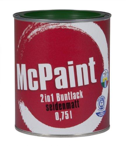 McPaint 2in1 Buntlack Grundierung und Lack in einem für Innen und Außen. PU verstärkt - speziell für Möbel und Kinderspielzeug seidenmatt Farbton: RAL 6005 Moosgrün 0,75 Liter - Bastellack