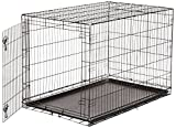 #4: AmazonBasics Single-Door Folding Metal Dog Cage with Paw Protector (48 inches)