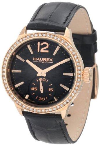 Haurex Italy Grand Class Black Dial Watch #FH341DNH - Reloj de mujer de cuarzo, correa de piel color negro