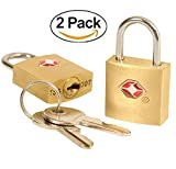#7: DOCOSS-PACK OF 2 -Small Metal TSA Approved Lock WITH Key For US International Locks For luggage Bag Travelling Travel Locks Padlock(RANDOM COLOR)