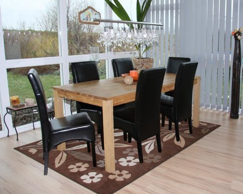 6 x Esszimmerstuhl Stuhl Lehnstuhl schwarz beschichtetes Leder Kolonial Afrika