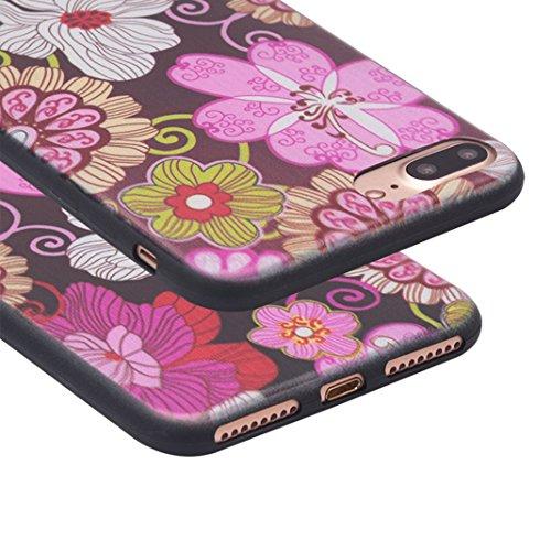 iPhone 7 Plus Cas, Asnlove Coque TPU Silicone Doux Housse Motif de Peinture Étui Transparent Ultra Mince Cover Protection de Téléphone Case pour Apple iPhone 7 Plus - Fleur Pourpre Peint Motif Couleur-8
