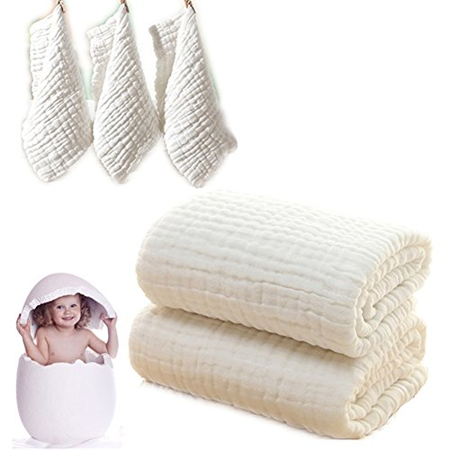 Baby Bad Handtücher und Waschlappen-Set auch für Baby Swaddle Decke und Baby Face Tuch, (5PC Value Pack) Super Soft 100% Organic Musselin Baumwolle–Ideal für Baby Care Geschenk Sets von mulinn (Pflege Value Pack)