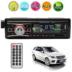 AUDEW 12V Voiture Autoradio Stéréo Radio MP3 FM USB AUX Sans Lecteur CD
