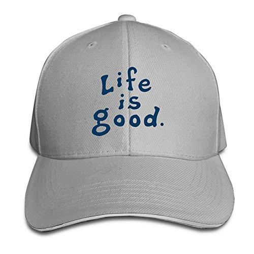 huseki-unisex-life-is-good-peaked-caps-hats-ash