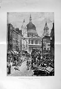 Banque 1889 de Dunstans de Colline de Ludgate d'Omnibus de Londres Angleterre [Cuisine et Maison]