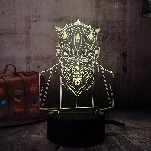 Wars Darth Maul 3D Visual Led Leep Nachtlicht Usb Tisch Illusion Stimmung Atmosphäre 7 Farben Lampenfigur-remote control - Weiches Maul Hund