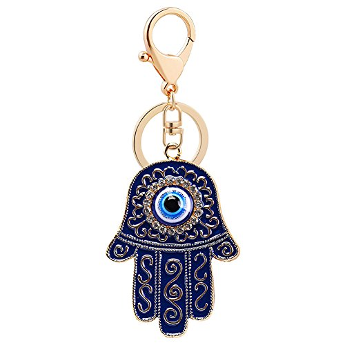 MAJGLGE Fashion Hand of Fatima Blue Evil Eye Schlüsselanhänger Kette, Schlüsselanhänger, Taschen-Dekoration, Blau Blau (Ink Blue) -