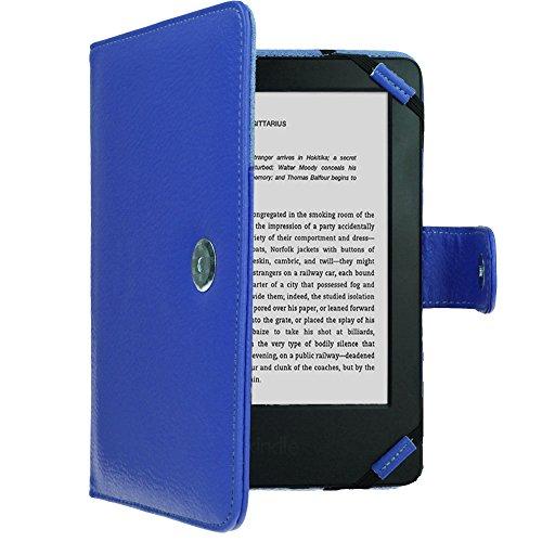 TECHGEAR Hülle für Amazon Kindle eReader, Kindle Paperwhite - Folio-Hülle aus PU-Leder mit Magnetverschluss passt Kindle eReader (6,0 Zoll) [4 bis 9 alle Generationen] Case mit Bildschirmschutz -Blau -