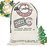 Sacchetti regalo in juta in stile vintage per Natale, ideali come sacchi per regali di Babbo Natale personalizzabili WHITE THREE DEER