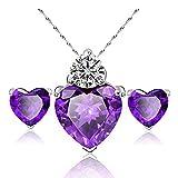 Hosaire Halskette Ohrringe Diamant Herz Stil elegant Frauen Schmuck Crystal Set von Kristall Anhänger Halskette + Ohrringe(Lila)