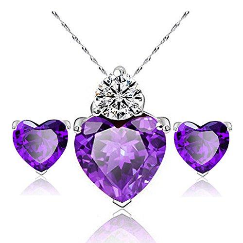 rringe Diamant Herz Stil elegant Frauen Schmuck Crystal Set von Kristall Anhänger Halskette + Ohrringe(Lila) ()