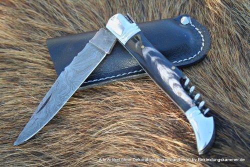 LAGUIOLE couteau avec tire-bouchon lederholster en corne de buffle avec lederholster
