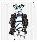 Abakuhaus Quirky Duschvorhang, Jack Russell Hunde Gläser, Digital auf Stoff Bedruckt inkl.12 Haken Farbfest Wasser Bakterie Resistent, 175 x 200 cm, Schwarz-weiß-blau