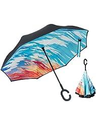 Parapluie Inversé, XIAO MO GU Créative Parapluie Inversé Double, Parapluie Anti-UV pour Voiture Pluie Extérieures Mains Libres avec Sac de Transport (Coloré)