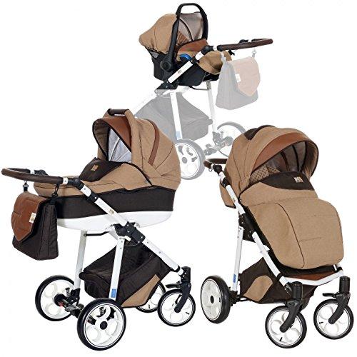 LCP Kids 3-in-1 Kombi-Kinderwagen Set ab Geburt - Leichtgängig - Reifen mit Pannenfrei Garantie Beige