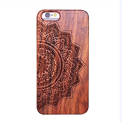 Forepin Coque en Bois Naturel pour iPhone 5 / 5G / 5S / SE, Santal Réel Etui Couvert et Housse en Plastique Dur dans Motif de Sculpté élégante Protecteur Pare-chocs Case - Mandala Motif Sculpté