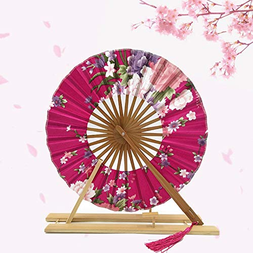 XIAOHAIZI Handfächer,Pfingstrose Blume Rose Rot Runde Windmühle Fan Kreative Chinesischen Stil Bambus Falten Hand Fan Hochzeit Tanz Zugunsten Tasche Fan Geschenk (Für Taschen Hochzeit Zugunsten)