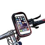 wheelup Fahrradhalterung Halter Lenkradhalterung Bike Holder mit wasserdichter Schutzhülle Tasche Universal für Smartphones, Handy, Navi, GPS ! Halterung 360 Grad drehbar / Handyhalterung für 6 Zoll iPhone 6 Plus 6s 8 Plus iPhone X, Samsung Galaxy S8 S6 S6 S5 S4 Sony Xperia Z3 Z4 Z5 OnePlus 3 ZTE Axon 7 LG G5 G6 G4 Honor 8 (Rot)