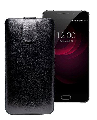 Original Favory Etui Tasche für UMI Plus / UMIDIGI Plus | Leder Etui Handytasche Ledertasche Schutzhülle Case Hülle *Lasche mit Rückzugfunktion* in schwarz