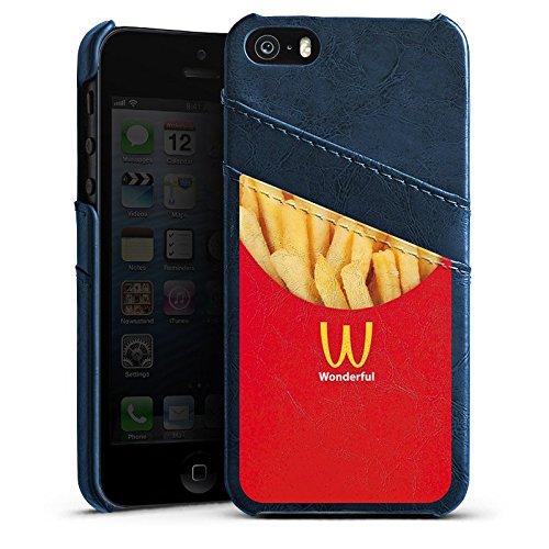 Apple iPhone 5s Housse Outdoor Étui militaire Coque Pommes Fast Food Frites Étui en cuir bleu marine