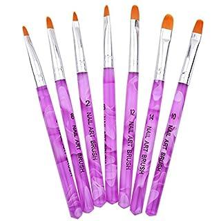TechSmile 7er Nagel Pinselset Fashion Galerie Nail Art Set Maniküre Werkzeug Acryl Stifte Brush Kits für die Nagelmodellage mit 7 verschiedene Naildesign Pinsel