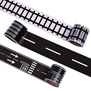 Hybsk DIY Trains Railways Road Tape for Toy Cars Total 3 Rolls