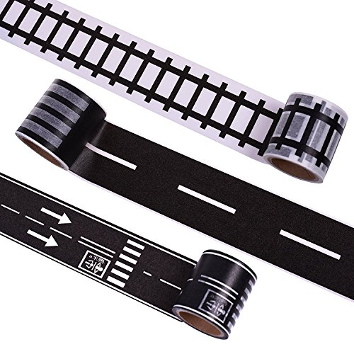 Price comparison product image Hybsk DIY Trains Railways Road Tape for Toy Cars Total 3 Rolls