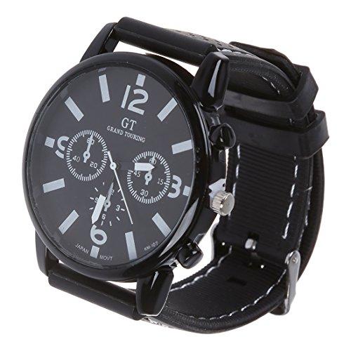 Reloj de hombre - GT Reloj de pulsera de acero inoxidable de banda de silicona de hombre Numero negro