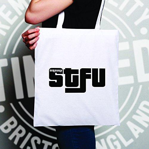 STFU maleducato Insultare Stampato Slogan Logo Designer per adulti novità Sacchetto Di Tote White