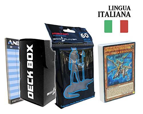 Andycards Structure Deck Ascesa dei Veri Draghi - Mazzo Yugioh SR02 in Italiano + 60 Bustine Protettive God-Player Nere + Deck Box Nero + Segnapunti