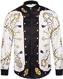Pizoff Mens Hipster Long Sleeve Luxury Design Contrast Keys Print Button Down Khaki Dress Shirt Y1792-07-L