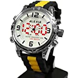 10 aw801d Agua Resist Alexis Boy/Girl Dual Time reloj digital de banda de silicona), color negro