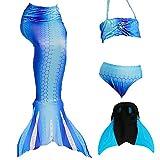 Das beste Mädchen Bikini Badeanzüge Schönere Meerjungfrauenschwanz Zum Schwimmen mit Meerjungfrau Flosse Schwimmen Kostüm Schwanzflosse - Ein Mädchentraum- Gr. 120, Farbe: B - Blau
