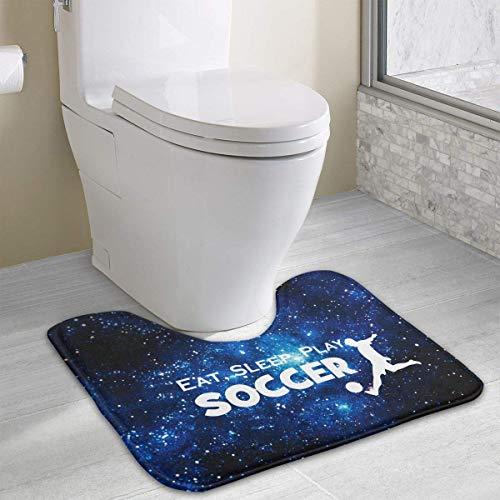 (Hoklcvd Essen Sie schlafen Fußball U-förmige Toilette Boden Teppich Rutschfeste Toilette Teppiche Duschmatte)