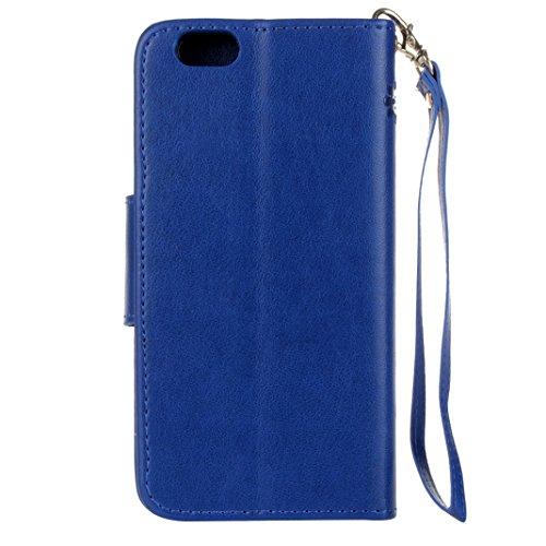 iPhone 6 Plus Cover Case HuaForCity® iPhone 6 Plus Custodia in Pelle PU Ultra Sottile Smartphone Indietro Portafogli Shell Case Copertina con Portabiglietti Slot Flip Chiusura Magnetica Stile del Libr blue