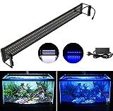 DOCEAN Illuminazione per Acquario, Lampada LED per Acquario, Luce Acquario, Plafoniera LED Acquario Dolce, Luce bianca e luce blu, per 94cm-115cm Acquario