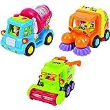 Spielzeug für Kleinkinder - Set mit 3 reibungsbetriebenen Spielzeugen TG641 – Reibungsbetriebener Zementmischer / Kehrmaschine / Mähdrescher mit automatischen Funktionen - Spielzeug Push und Go Reibung Powered Auto spielzeug ab 2 jahren von ThinkGizmos (geschützte Marke)