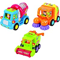 Toy Vehicle Set For Toddlers - Push And Go Car Toys For Boys – Friction Powered Push & Go Cars – Cement Mixer Truck / Street Sweeper / Harvester Truck With Automatic Functions – Early Educational Toys For Toddler Boys By ThinkGizmos (Trademark Protected)
