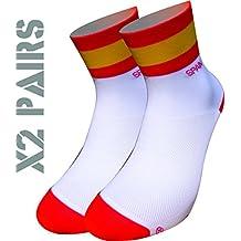 España TKS socks pack 2 PARES SOFTAIR+, ciclismo, running, triatlon, golf y deportes en general. (XL(46-48)(11-12UK))