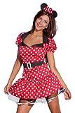 spass42 sexy Minnie Minni Maus und Ohren Mouse Minnimaus Mickey Micky Damen Kleid Kostüm Karneval Groesse: L/XL
