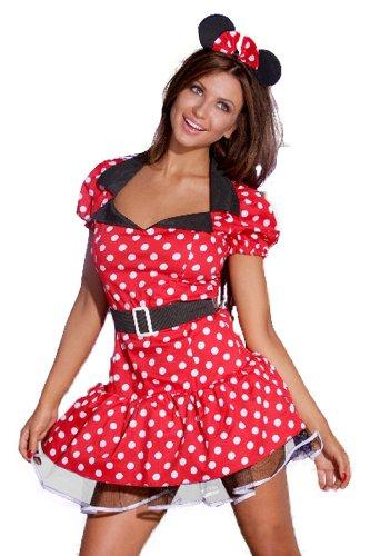 (spass42 sexy Minnie Minni Maus und Ohren Mouse Minnimaus Mickey Micky Damen Kleid Kostüm Karneval Groesse: L/XL)