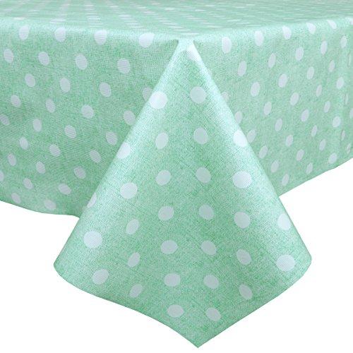 t Wasserdicht leichteres Chevron Muster Stoff, Tischdecke Home Dekoration, Blaugrün mit weißen Punkten, 54'' x 78''-140x200 cm ()