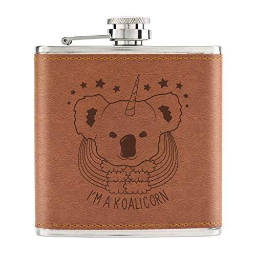 Ich Bin ein Koalicorn Einhorn 6oz Pu-Leder Hüfte Flasche Hellbraun